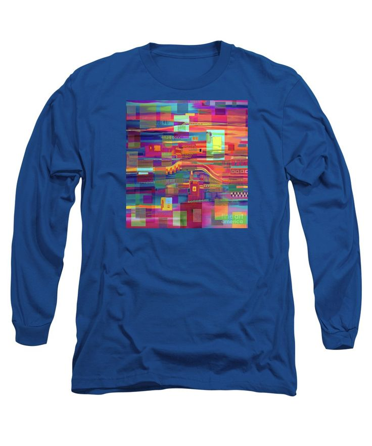 Squares Long Sleeve T-Shirt featuring the painting A Colorful Tale by Expressionistart studio Priscilla-Batzell