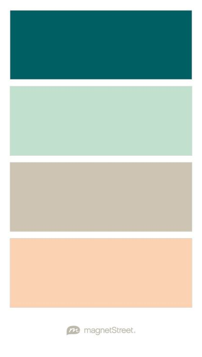 Custom Blue, Celadon, Custom Neutral, and Peach Wedding Color Palette - custom color palette created at MagnetStreet.com