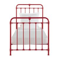 Metal 90 x 190cm bed in red