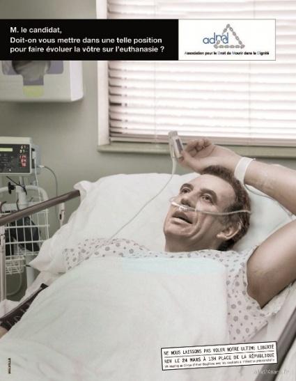 Une campagne choc pour l'euthanasie avec Sarkozy, Le Pen et Bayrou