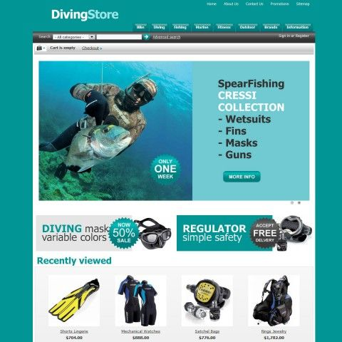 Diving Store CS-Cart Template is specially designed for diving`s products. Garmonical colors combination of azure and black with white and grey background is the best decorate for Computers Consoles, Regulators Cylinders, BCD Gilletes, Wetsuits, Fins, Masks Snorkel. It is very nice with its clean and professional look.