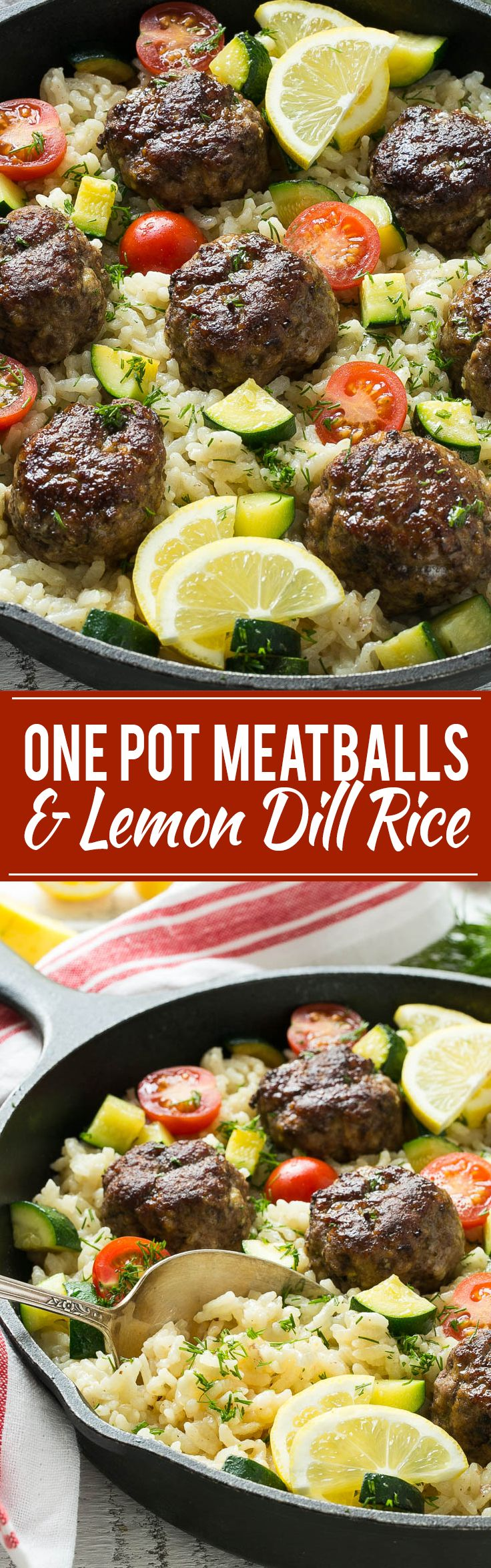 This recipe for one pot greek meatballs with lemon dill rice includes savory greek spiced beef meatballs, creamy arborio rice and vegetables, all cooked together in a single pot! #VillageHarvestInspired @villageharvest