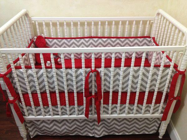 Baby Bedding Crib Set Ashton - Gray Chevron Red : Just Baby Designs, Custom Baby Bedding Custom Crib Bedding Custom Nursery Bedding