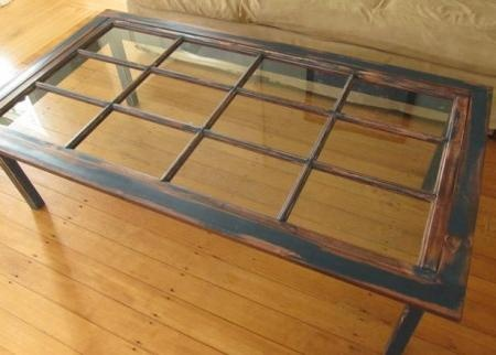 A re-purposed window into a coffee table. Not sure how glass would do in my house, but this is an awesome idea.