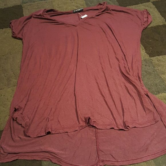 Brandy Melville Side Split Tee Burgundy tee with a V-neck and side splits. Brand new with tags. Brandy Melville Tops Tees - Short Sleeve