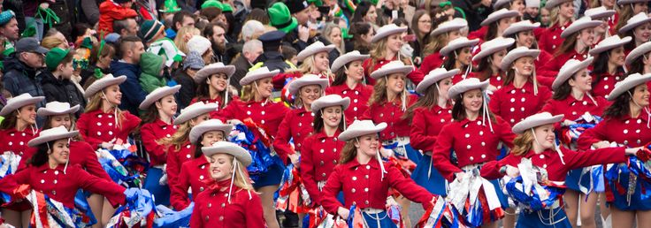 KILGORE COLLEGE RANGERETTES AT THE ST. PATRICKS'S DAY PARADE [2015] REF-102205- ST. PATRICK'S DAY IS ON THURSDAY