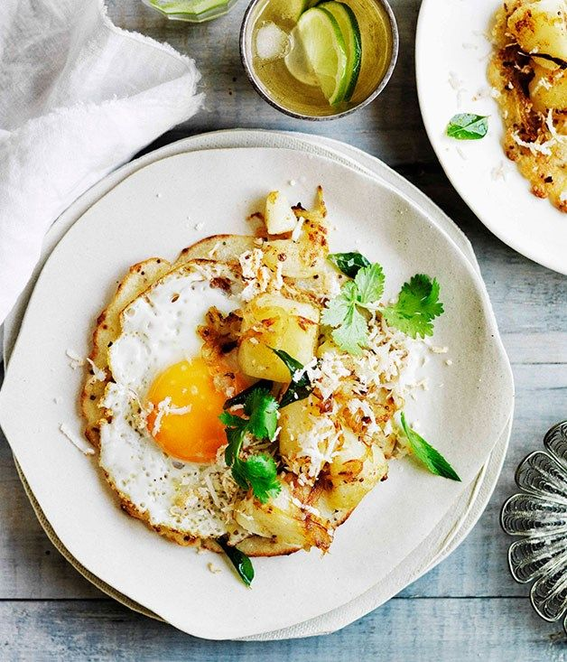 Fried egg dosa with potato curry :: Gourmet Traveller