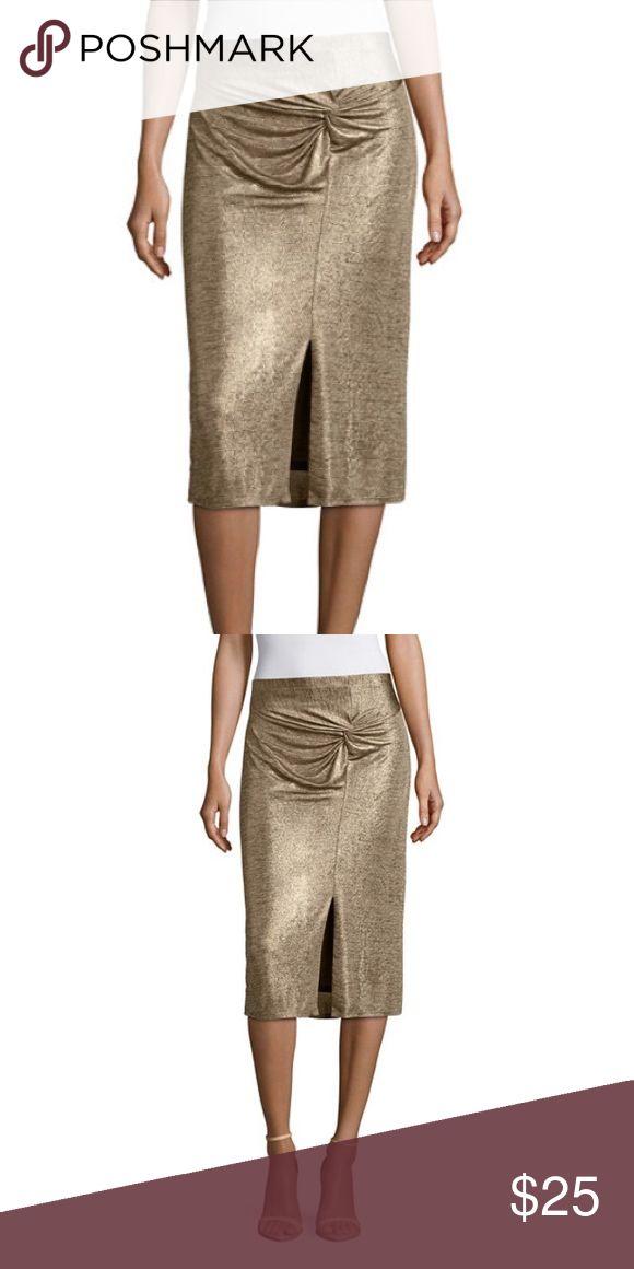 Colonial Tan Pencil Skirt Fabric Description: Knit Fabric Content: 97% Polyester, 3% Spandex Worthington Skirts Pencil