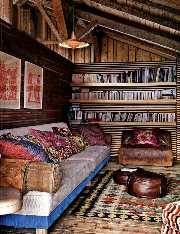 Home library.  Few too many horizontal lines, but gosh this looks cozy.