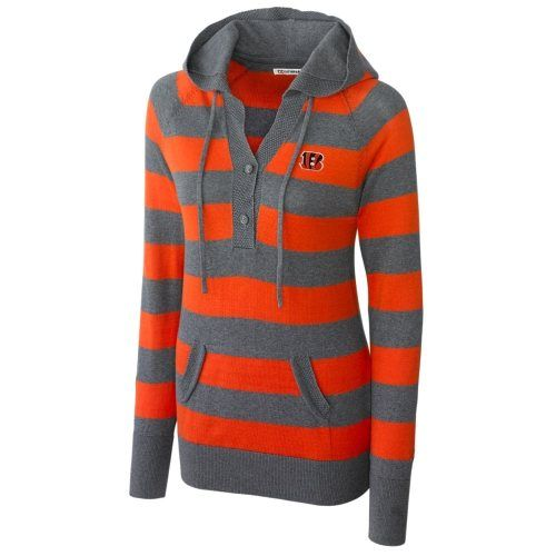 Cutter & Buck Cincinnati Bengals Ladies Knockout Hooded Sweater - Orange/Ash