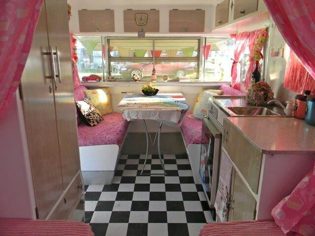 Flamingo Pink Vintage Caravan Courtesy Of Mag