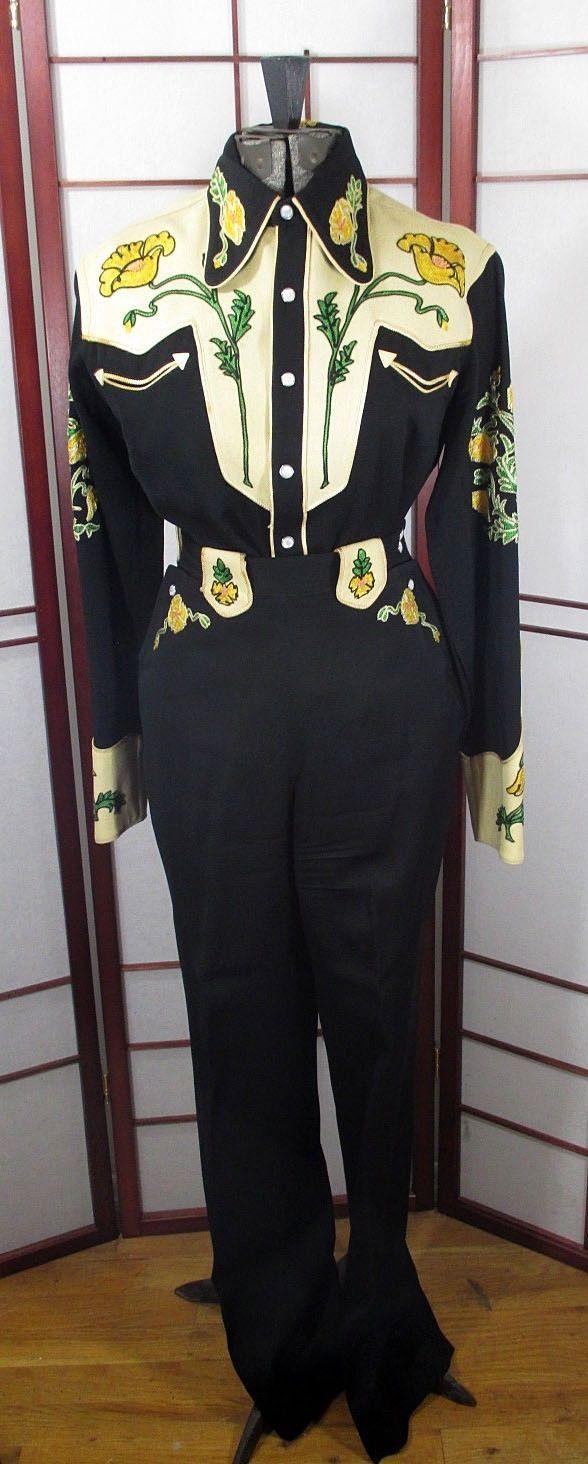 Frontex 1940s Wool Gabardine Two Tone Women's Western Wear Suit Shirt Pants | eBay