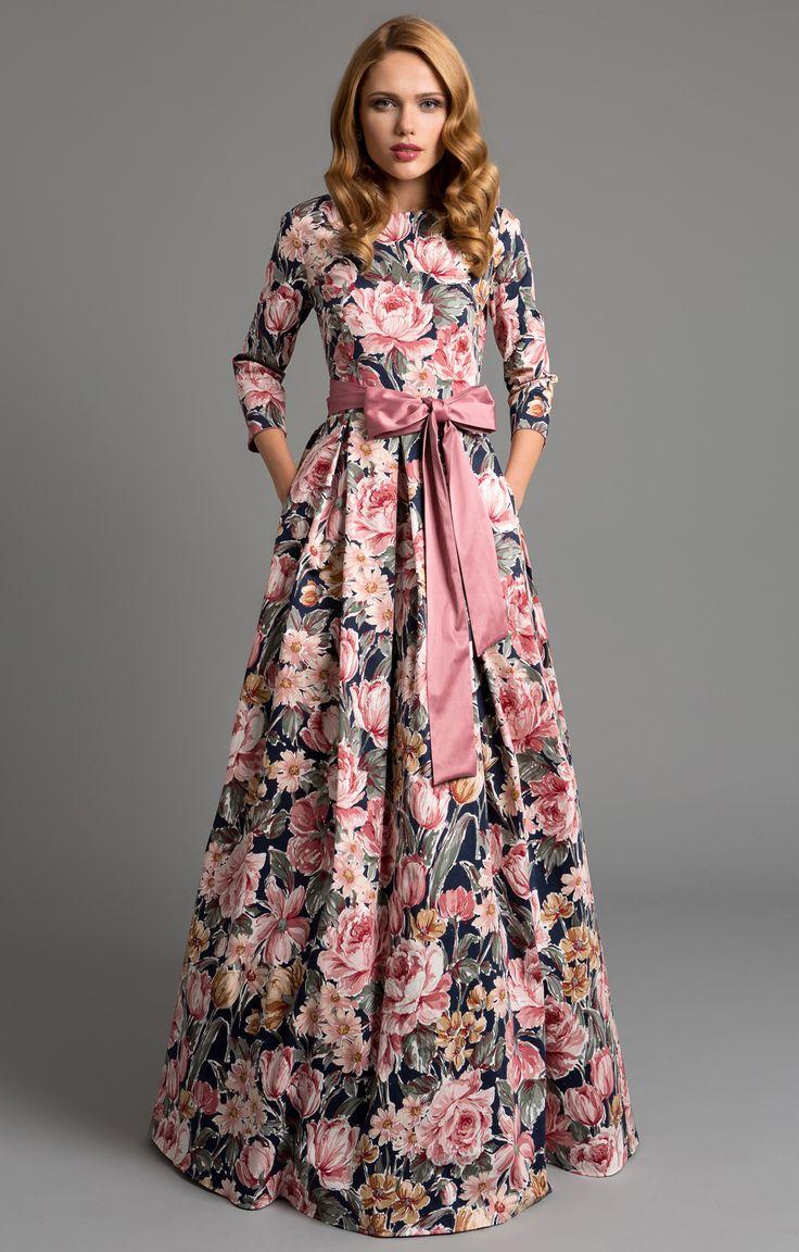 """Abendkleid """"Aurora"""" Rosa mit Blumenmuster/hochwertige Baumwolle."""