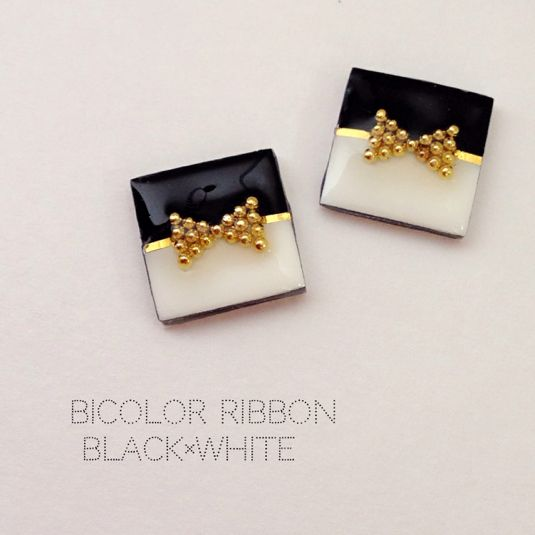 bicolor ribbon〈black×white〉