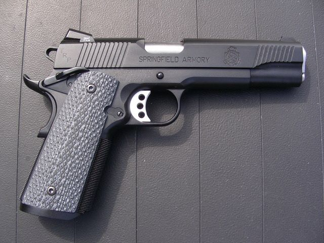 The Springfield Armory TRP 1911 Armory Kote™ with a black Teflon finish is modeled after the famous FBI contract Professional Model 1911.
