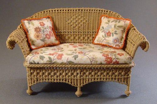 dollhouse miniature wicker furniture | Petticoat Porch wicker settee