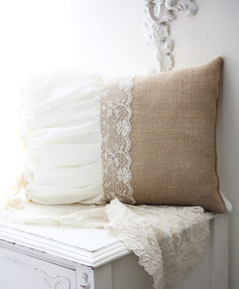 ♥ although no pattern or tutorial, quite easy to figure out.  I'm making a few of these except with damask fabric vs the burlap and my wedding dress shall make the lace end, the train to be a throw, my wedding gown repurposed and now an heirloom for all time