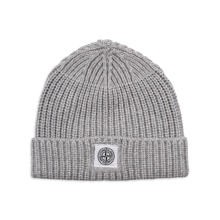 STONE ISLAND JUNIOR Boys Compass Beanie Hat - Grey Boys beanie hat • Soft wool blend • Turn up brim • Thick ribbed knit • Compass logo patch • Material: 80% Wool, 20% Polyester • Code: STONEYBEANIE