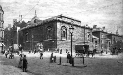 Newgate prison, from the corner of Giltspur Street, c 1900