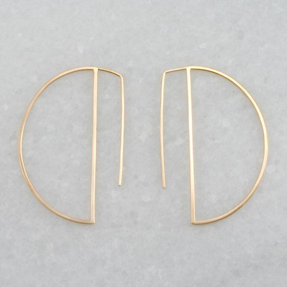 Lightweight Earrings,Gift For Her Hammered Texture Earrings,Minimalist Earrings Gold Crescent Earrings Geometric 22K Gold Filled Earrings