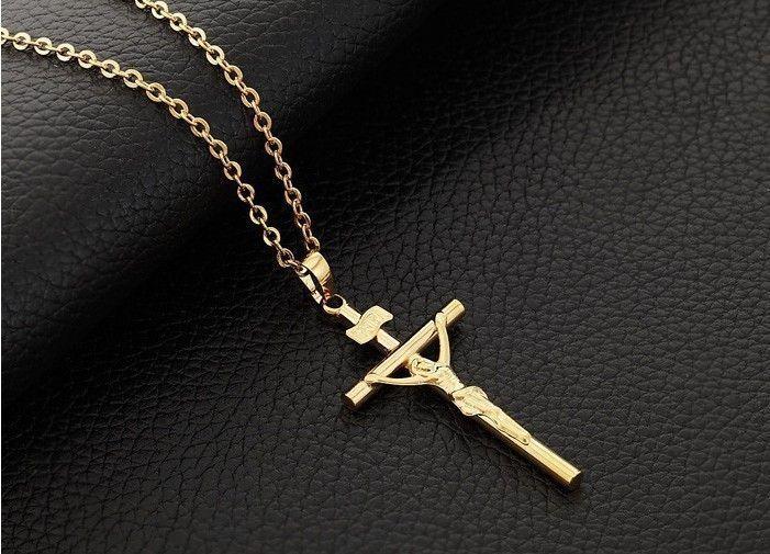 18K real gold filled crucifix Jesus cross pendant Jupiter Ascending cross necklace corrente de ouro masculina 18k N223