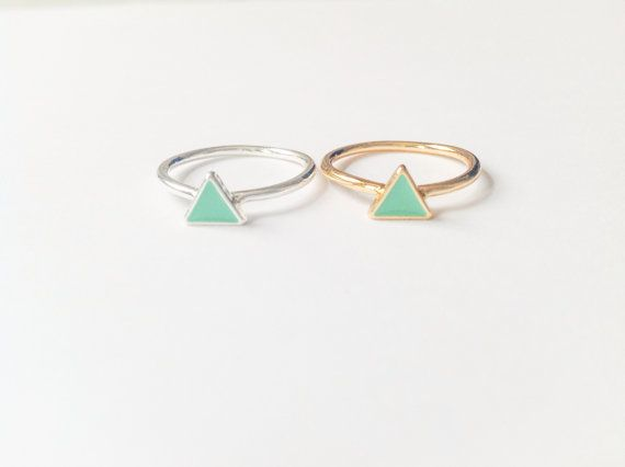 Triangle+ring+knuckle+ring+mint+arrow+ring+gift+best+by+TheMintFox