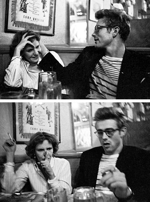 James Dean and Geraldine Page catch up in a bar in NYC, photographed by Dennis Stock.