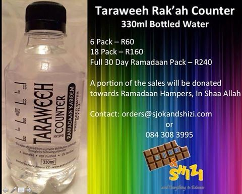 For our #Muslim #Customers - #Ramadaan #Taraweeh Rak'ah Counter #BottledWater 330ml. A portion of the #sales will be donated towards Ramadaan Hampers. #Ramadaan2015 #Islam #SjokandShizi #OnlineStore #SouthAfrica #SouthAfricanMuslims