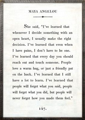 "2' x 3' Book Collection Art Print. White Background Reclaimed Wood Frame Quote: She said, ""I've learned that whenever I decide something with an open heart, I u"