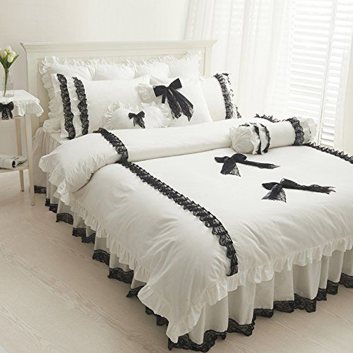 FADFAY Home Textile,Cute Girls Black And White Bedding Set,White Ruffle Queen Comforter Set,Snow White Lace Bedding Sets,Girls Fairy Bedding Sets FADFAY http://www.amazon.com/dp/B00L29GWHS/ref=cm_sw_r_pi_dp_abAQub1HNEQ04