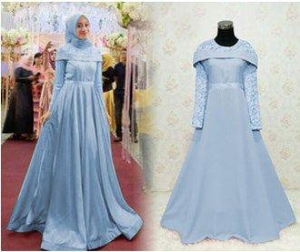 Gaun Pesta Muslimah Elegan Sabrina Maxy Biru Muda Gaun Pesta