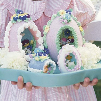 Sugar Easter Eggs.  I still have several  from when I was younger.  So pretty!