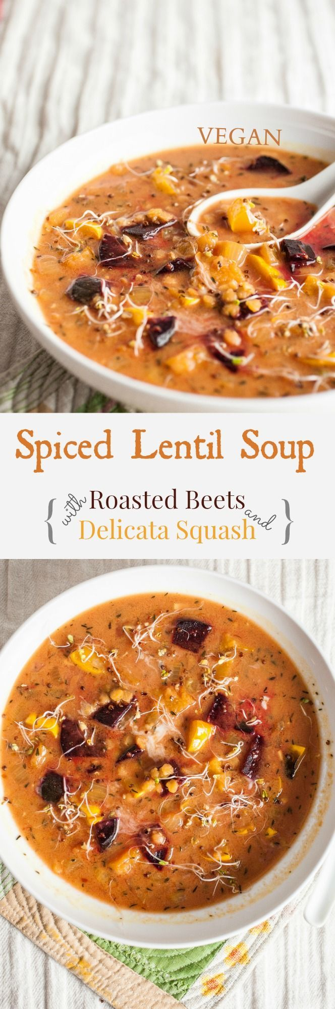 Spiced Lentil Soup with Roasted Squash & Delicata Squash - Based with creamy coconut milk, red lentils mingle with roasted beets and caramelized delicata squash. Spiced with tantalizing aromatics like cardamom, cinnamon, and nutmeg. #vegan