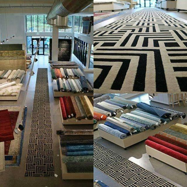 This beautiful 12 metre long custom made Athens runner is not the longest we have made, but its one of the most visually stunning. #geometricpattern #geometric #runnerrug #runners #sourcemondialNZ #athens