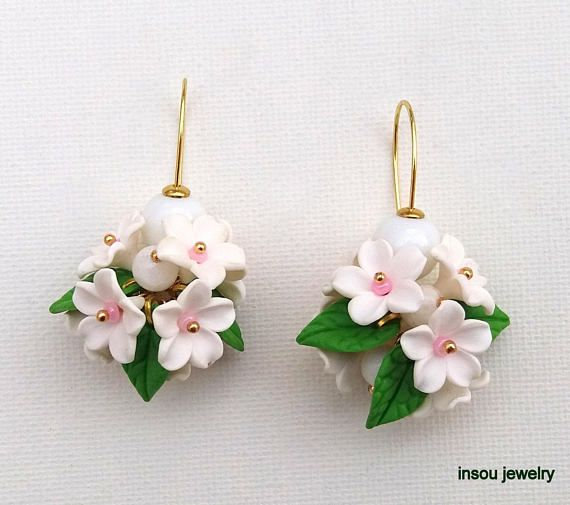 Flower Dangle Earrings, Spring Earrings, Handmade Earrings, Flower Jewelry, White Earrings, Floral Fashion, Clay Flowers, Gift For Her