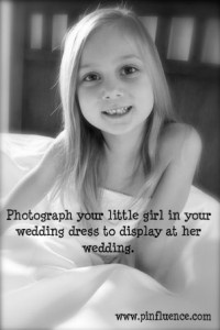 Daughter in your wedding dress photo memory. For her own wedding day.