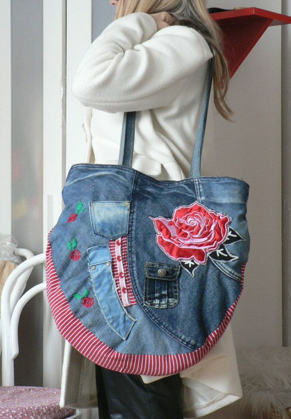 Crazy aplication hippie bag. Embroidered denim jeans recycled hip bag.Uniqe design.Hippie boho style.Long functional harness,Magnet - fastener. Measurements: 16 x 16,5 in [41 x42 cm ] Lenght harness 33,5 in [90 cm ]