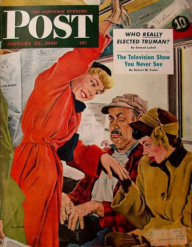 Showing Off Her Ring. Saturday Evening Post, January 22, 1949 (George Hughes)