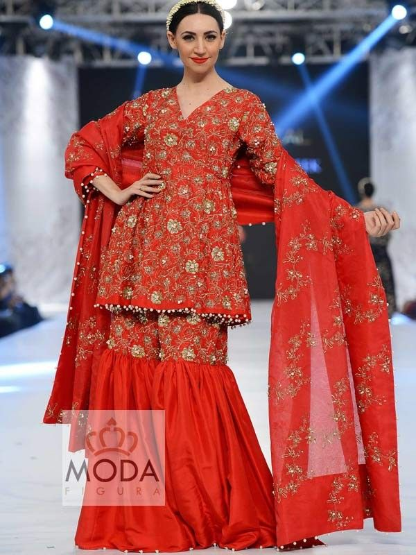 Red dori zardosi jaal work bridal flarred gharara dress - Bridal Gharara Studio @ $399 - modafigura