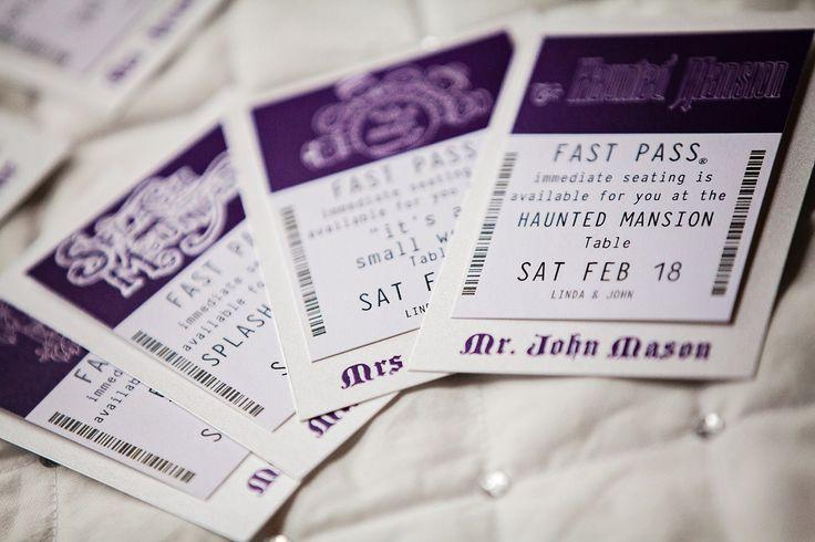 Disney Fastpass Wedding escort cards... YES.