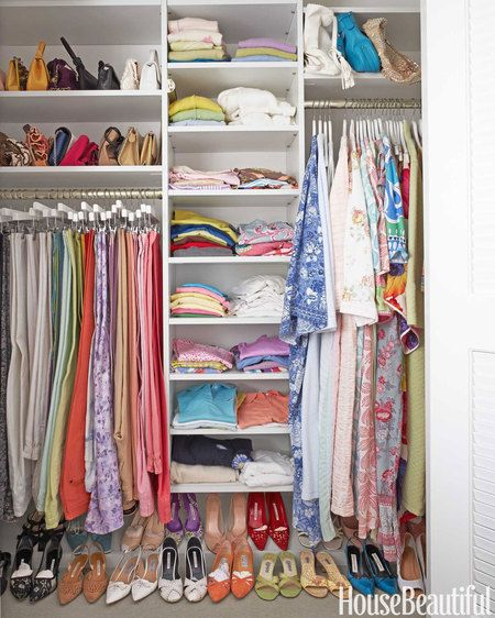 Open shelves in the closet make it easy to find what your looking for.