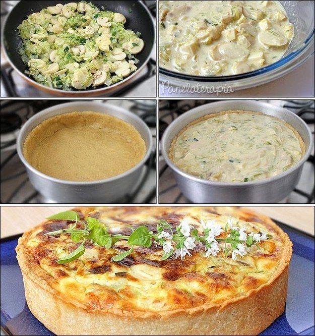 Quiche de abobrinha, queijo coalho e champignon.                                                                                                                                                                                 Mais
