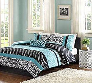 Teal blue and black zebra leopard polka dots girl bedroom design.