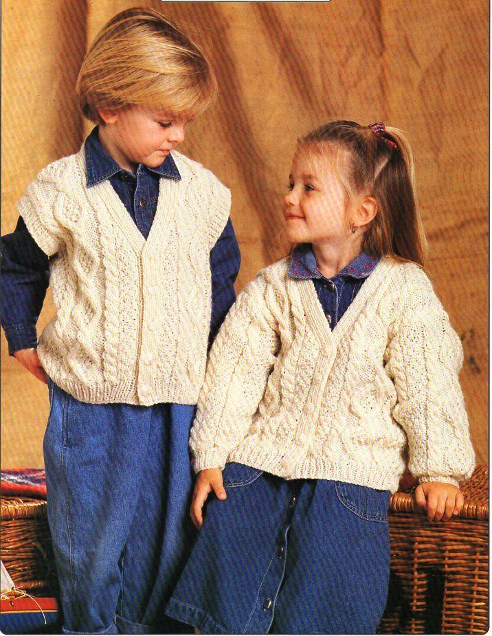 188 best vintage baby children aran knitting patterns knit baby childrens aran cardigan waistcoat knitting pattern pdf cable jacket gilet vest 20 30 aran worsted 10ply pdf instant download dt1010fo
