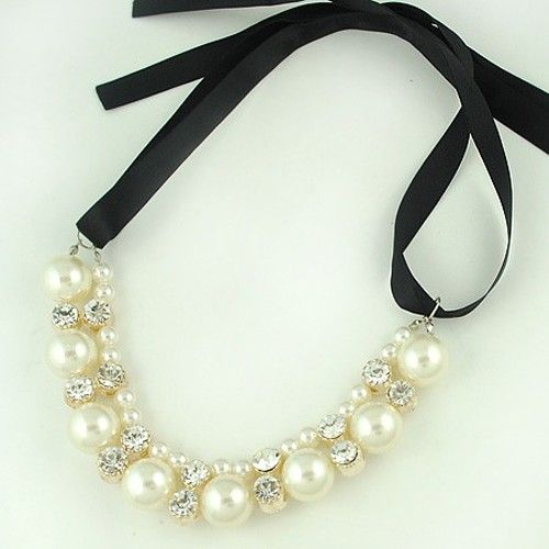 Necklace - fake pearl riband crystal & alloy, easy on/off ribbon $30