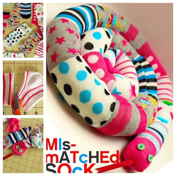 Have many odd socks ?Turn them into this super cute Sock Snake, funny and creative ! (y)  Instructions -->http://wonderfuldiy.com/wonderful-diy-mismatched-socks-snake/