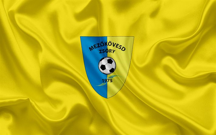 Descargar fondos de pantalla Mezokovesd SE, húngaro equipo de fútbol, el emblema, Mezokoveshd logotipo, bandera de seda, Mezokoveshd, de Hungría, de fútbol, de la liga de fútbol de hungría
