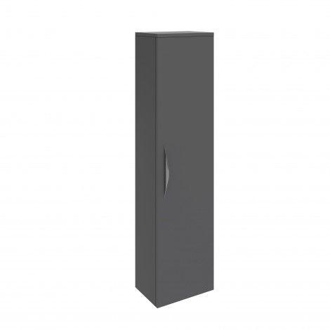 Hudson Reed Memoir 1 Door Wall Mounted Tall Unit - Gloss Grey - FME018 | UK Bathroom Store