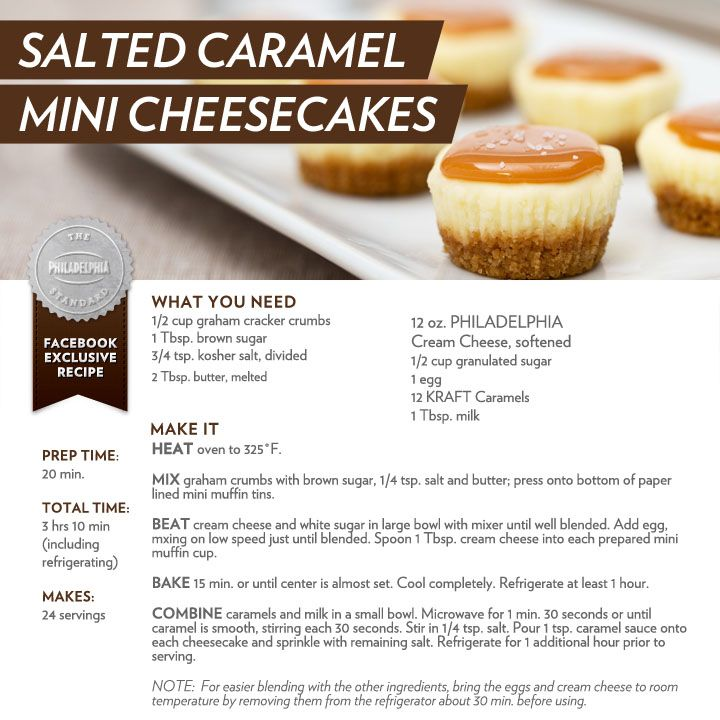 Try these delicious Salted Caramel Mini Cheesecakes #recipe #dessert