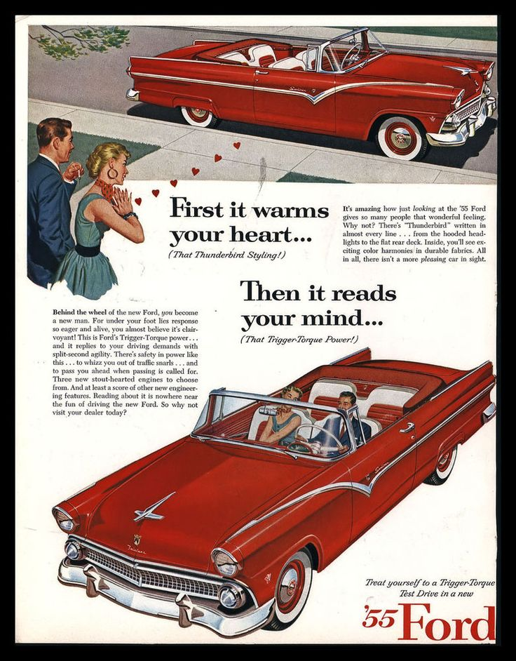 ford fairlaine sunliner reads your mind red mad men art the vintage art collection ms